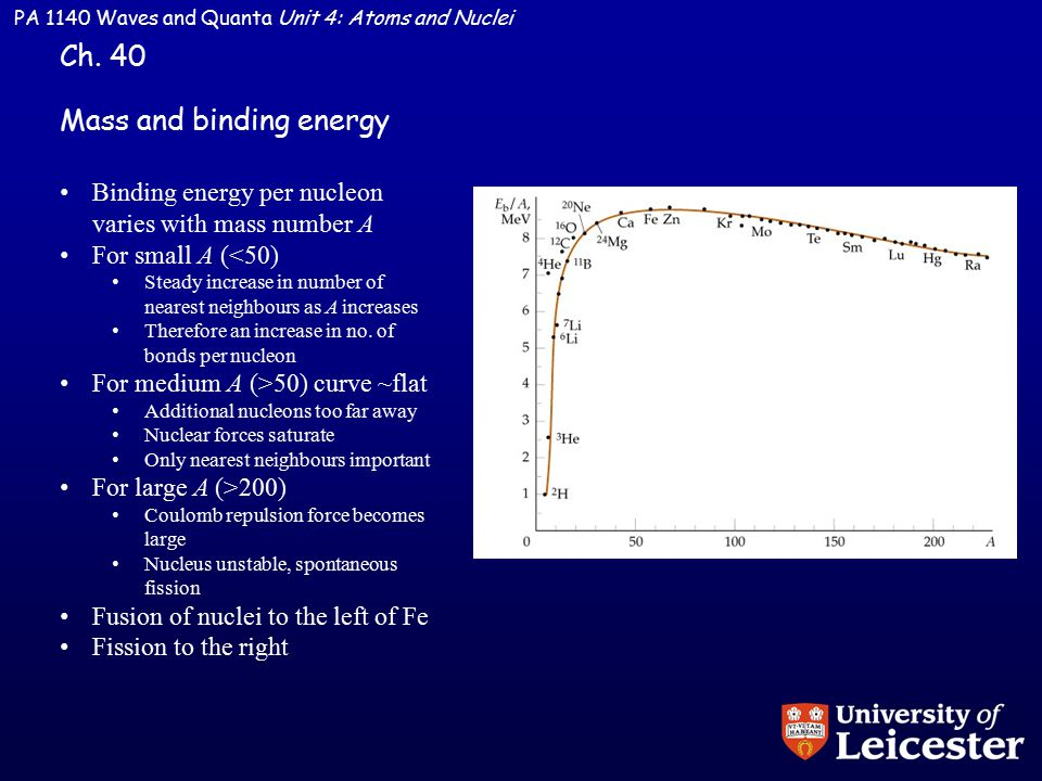 PA 1140 Waves and Quanta Unit 4: Atoms and Nuclei Mass and binding energy Ch.
