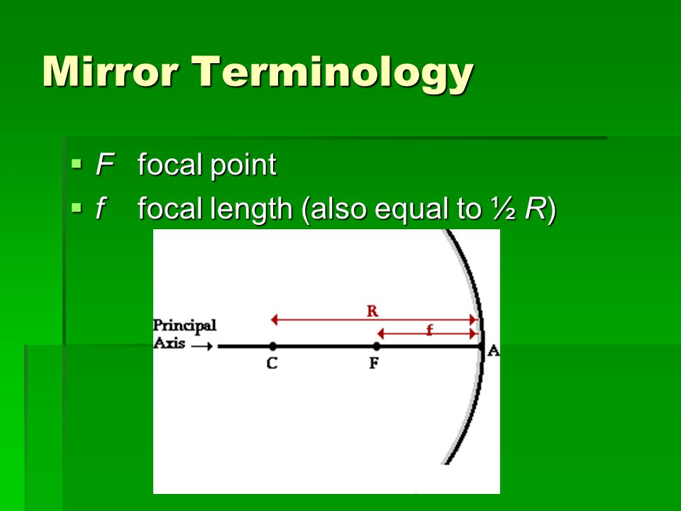 Mirror Terminology  Ffocal point  ffocal length (also equal to ½ R)