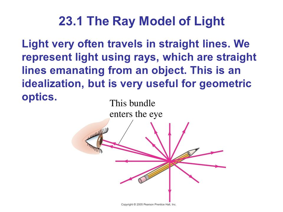 23.1 The Ray Model of Light Light very often travels in straight lines.