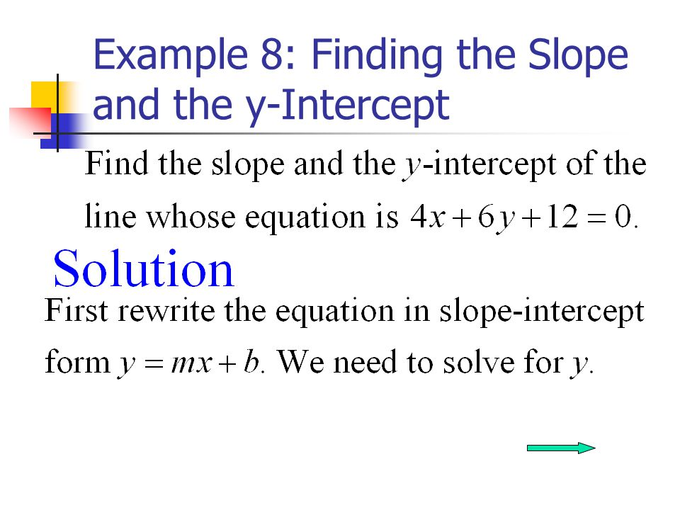 Example 8: Finding the Slope and the y-Intercept