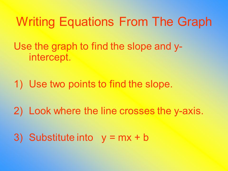 Writing Equations From The Graph Use the graph to find the slope and y- intercept.