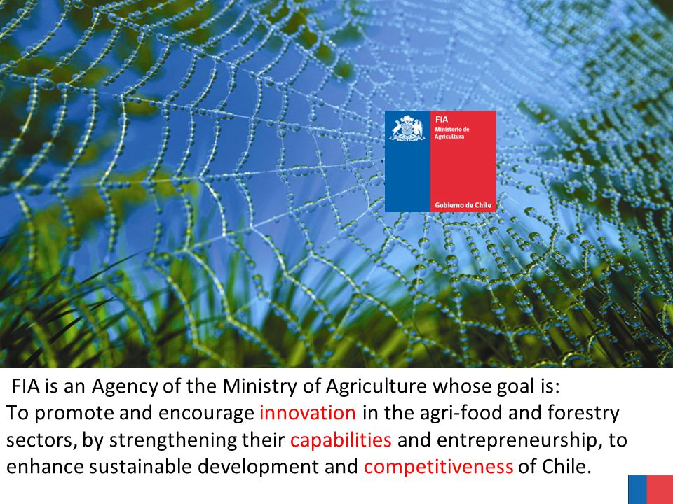 FIA is an Agency of the Ministry of Agriculture whose goal is: To promote and encourage innovation in the agri-food and forestry sectors, by strengthening their capabilities and entrepreneurship, to enhance sustainable development and competitiveness of Chile.