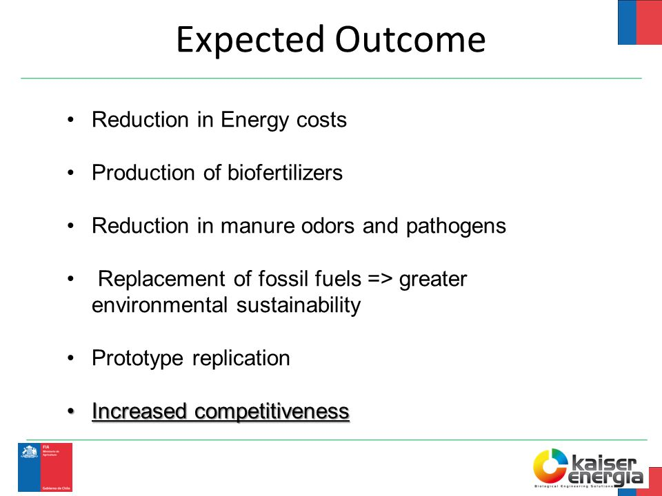 Expected Outcome Reduction in Energy costs Production of biofertilizers Reduction in manure odors and pathogens Replacement of fossil fuels => greater environmental sustainability Prototype replication Increased competitivenessIncreased competitiveness