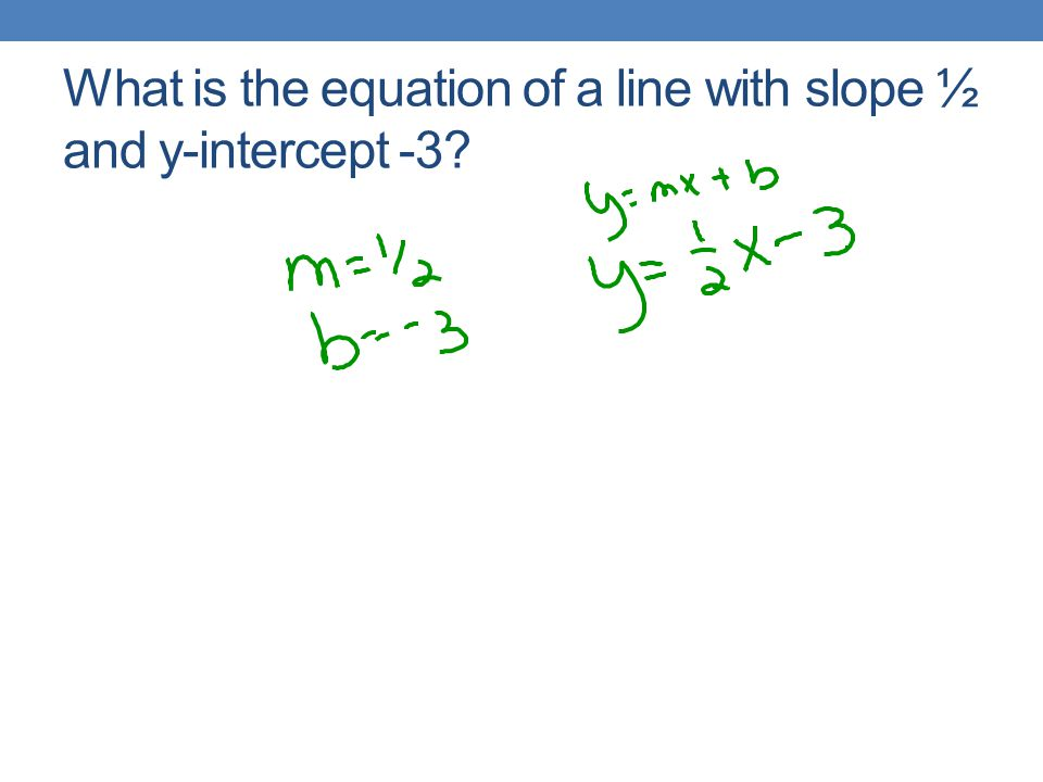 What is the equation of a line with slope ½ and y-intercept -3