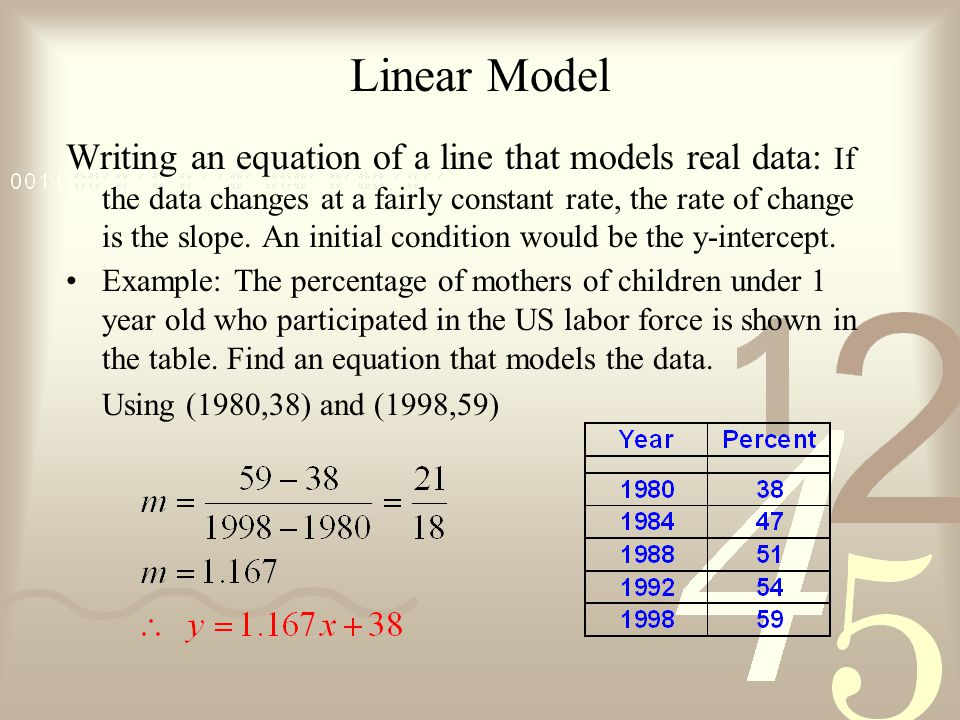 Objectives find the slopes of lines write and graph linear linear model writing an equation of a line that models real data if the data ccuart Images