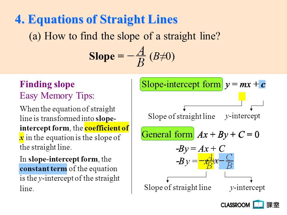 Slope Intercept Form Y Mx Cy Mx C General Form Ax By C