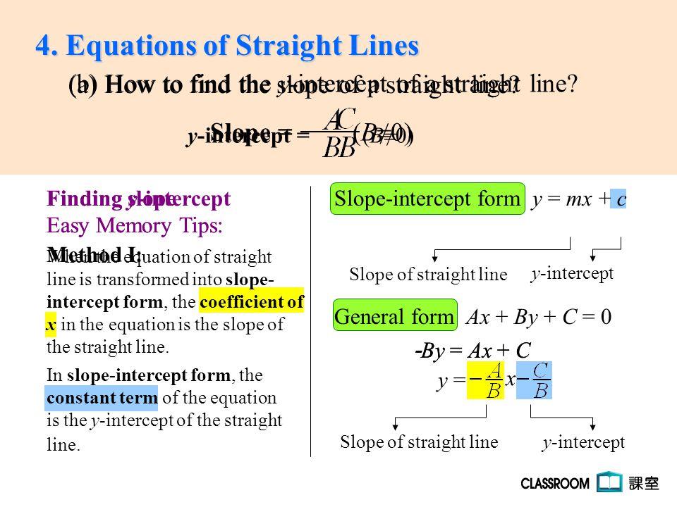 Slope-intercept form y = mx + cy = mx + c General form Ax + By + C ...