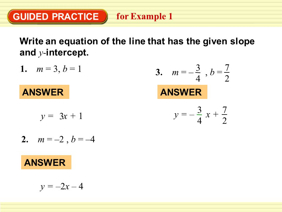 GUIDED PRACTICE for Example 1 Write an equation of the line that has the given slope and y- intercept.