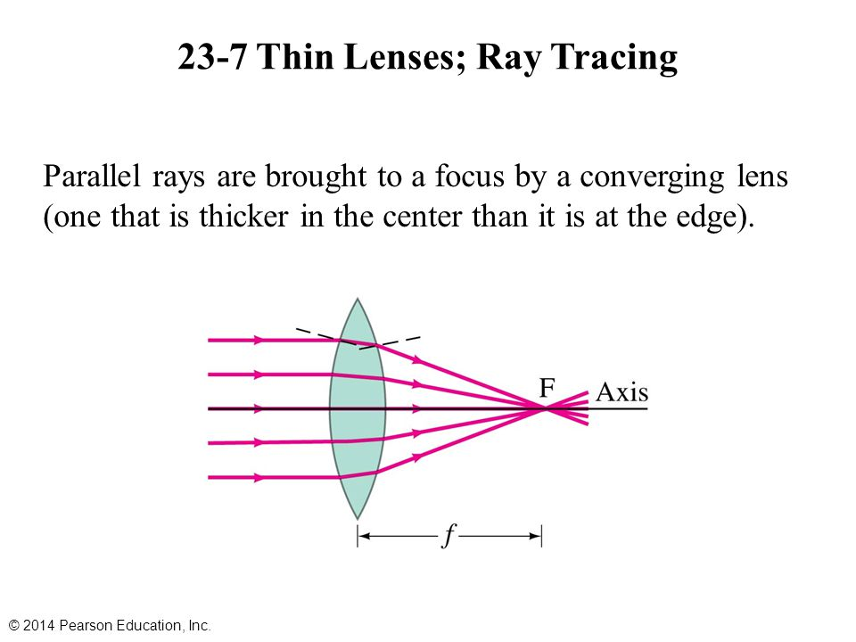 23-7 Thin Lenses; Ray Tracing Parallel rays are brought to a focus by a converging lens (one that is thicker in the center than it is at the edge).