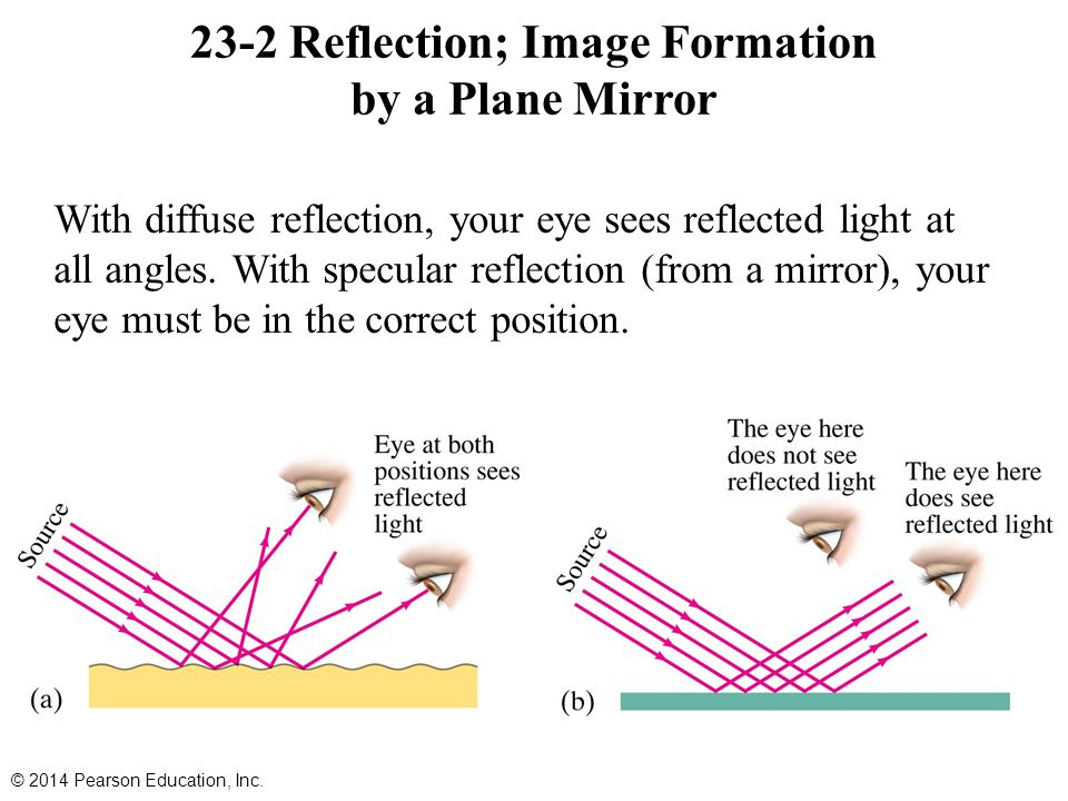 23-2 Reflection; Image Formation by a Plane Mirror With diffuse reflection, your eye sees reflected light at all angles.