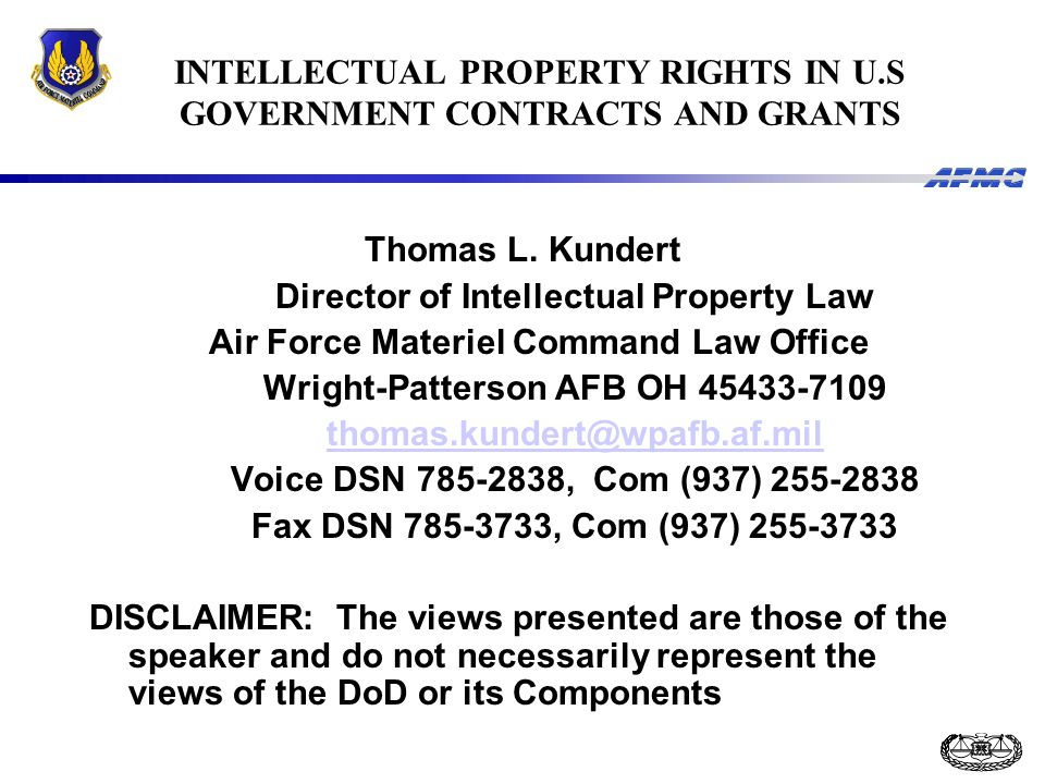 INTELLECTUAL PROPERTY RIGHTS IN U.S GOVERNMENT CONTRACTS AND GRANTS Thomas L.