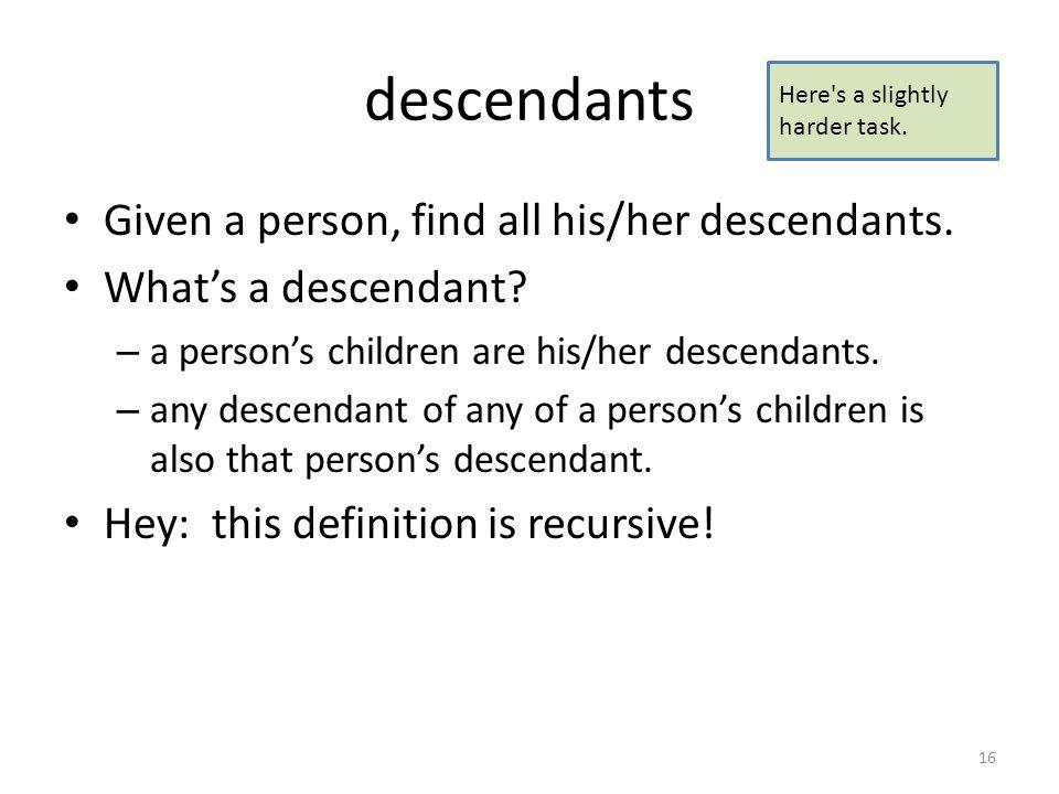 16 Descendants ...