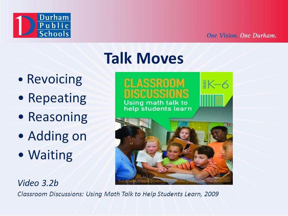 Talk Moves Revoicing Repeating Reasoning Adding on Waiting Video 3.2b Classroom Discussions: Using Math Talk to Help Students Learn, 2009