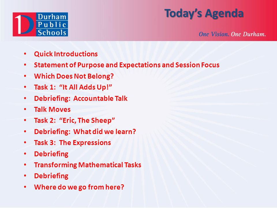 Today's Agenda Quick Introductions Statement of Purpose and Expectations and Session Focus Which Does Not Belong.