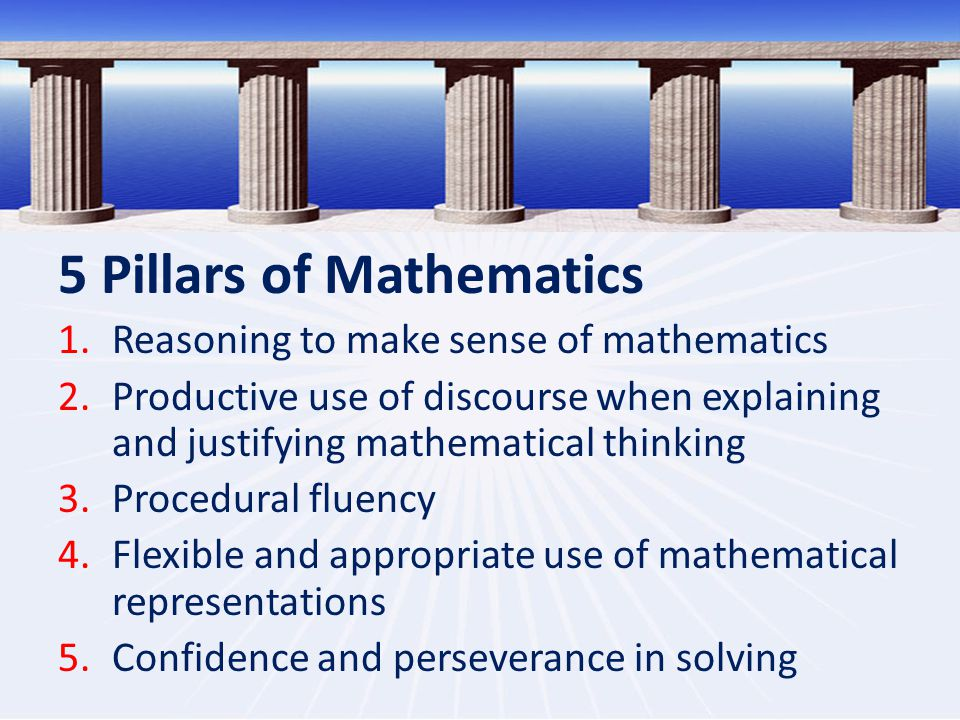 5 Pillars of Mathematics 1.Reasoning to make sense of mathematics 2.Productive use of discourse when explaining and justifying mathematical thinking 3.Procedural fluency 4.Flexible and appropriate use of mathematical representations 5.Confidence and perseverance in solving
