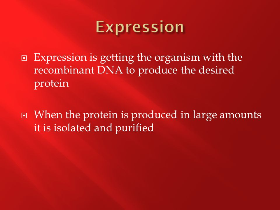  Expression is getting the organism with the recombinant DNA to produce the desired protein  When the protein is produced in large amounts it is isolated and purified