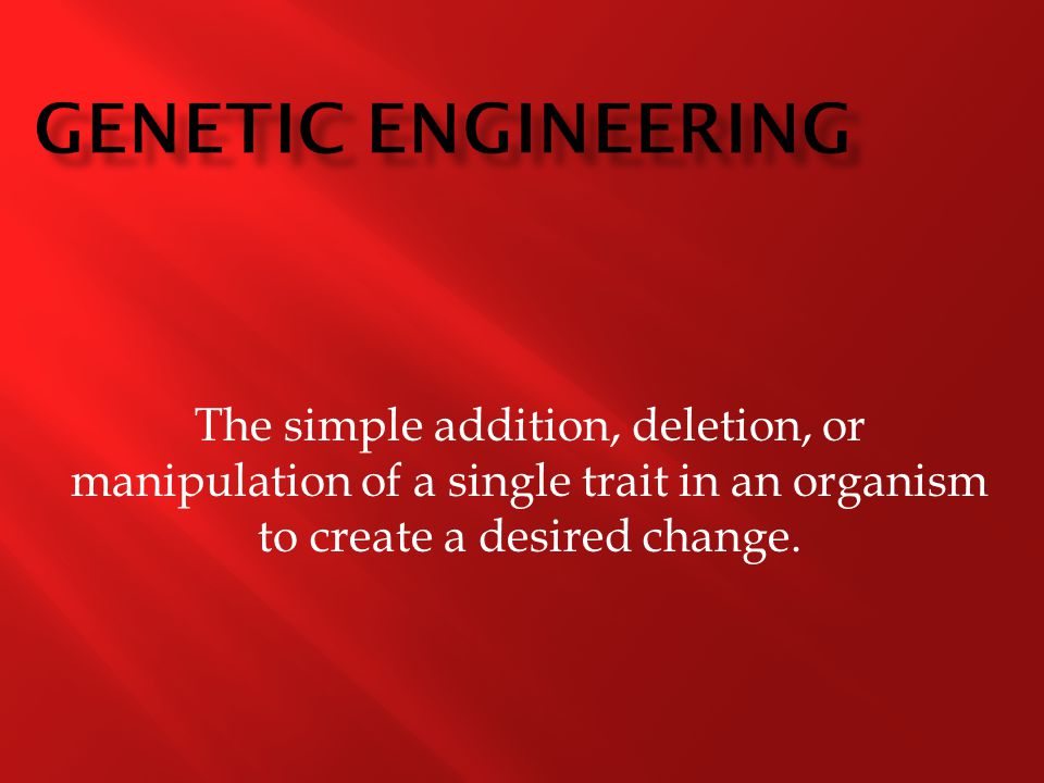 The simple addition, deletion, or manipulation of a single trait in an organism to create a desired change.