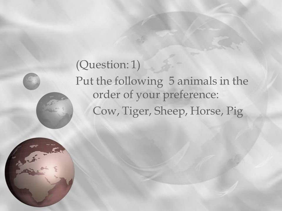 (Question: 1) Put the following 5 animals in the order of your preference: Cow, Tiger, Sheep, Horse, Pig