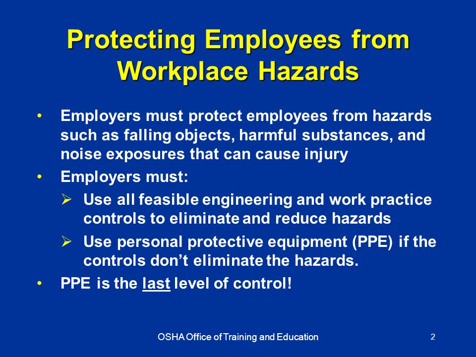 protective equipment is to reduce employee exposure to hazards essay