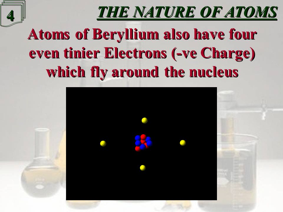 3 3 Atoms have a Nucleus, which contains Neutrons (no Charge) and Protons (+ve Charge), Atoms have a Nucleus, which contains Neutrons (no Charge) and Protons (+ve Charge), The Nucleus of a Beryllium atom has four protons The Nucleus of a Beryllium atom has four protons