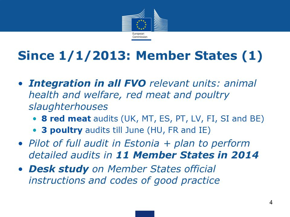 Since 1/1/2013: Member States (1) Integration in all FVO relevant units: animal health and welfare, red meat and poultry slaughterhouses 8 red meat audits (UK, MT, ES, PT, LV, FI, SI and BE) 3 poultry audits till June (HU, FR and IE) Pilot of full audit in Estonia + plan to perform detailed audits in 11 Member States in 2014 Desk study on Member States official instructions and codes of good practice 4