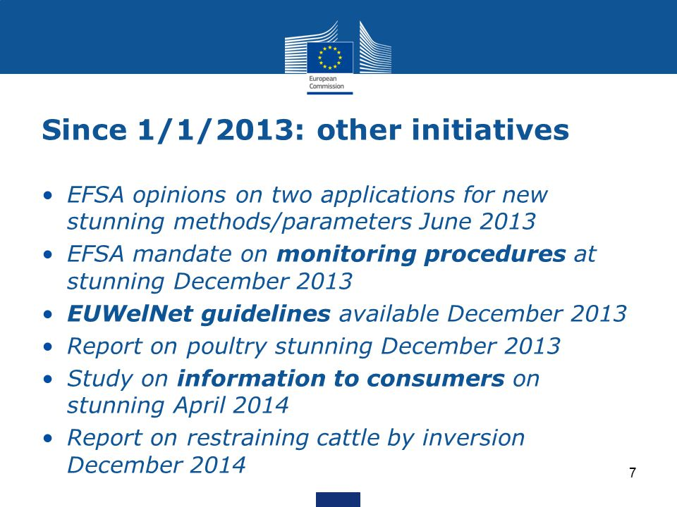 Since 1/1/2013: other initiatives EFSA opinions on two applications for new stunning methods/parameters June 2013 EFSA mandate on monitoring procedures at stunning December 2013 EUWelNet guidelines available December 2013 Report on poultry stunning December 2013 Study on information to consumers on stunning April 2014 Report on restraining cattle by inversion December