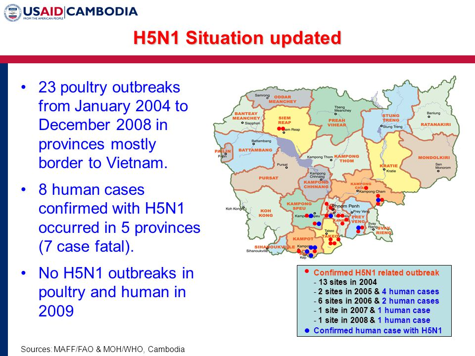 23 poultry outbreaks from January 2004 to December 2008 in provinces mostly border to Vietnam.
