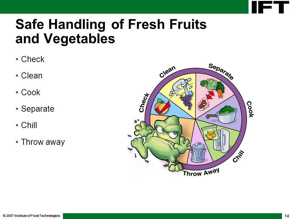 © 2007 Institute of Food Technologists 14 Safe Handling of Fresh Fruits and Vegetables Check Clean Cook Separate Chill Throw away