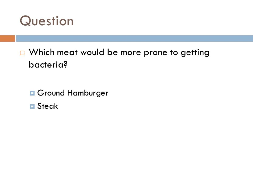 Question  Which meat would be more prone to getting bacteria  Ground Hamburger  Steak