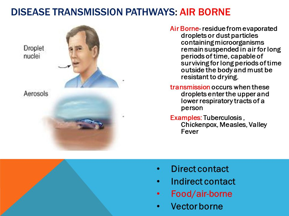 Direct contact Indirect contact Food/air-borne Vector borne DISEASE TRANSMISSION PATHWAYS: AIR BORNE Air Borne- residue from evaporated droplets or dust particles containing microorganisms remain suspended in air for long periods of time, capable of surviving for long periods of time outside the body and must be resistant to drying.