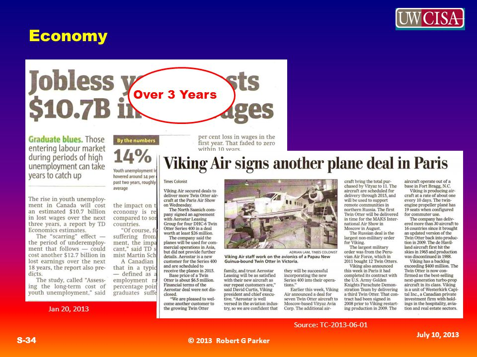 © 2013 Robert G Parker S-34 July 10, 2013 Economy Over 3 Years Source: TC Jan 20, 2013