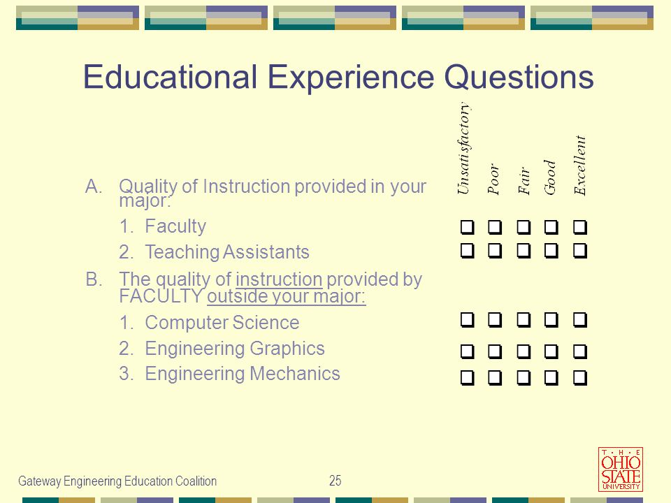 Gateway Engineering Education Coalition25 Educational Experience Questions A.Quality of Instruction provided in your major: 1.