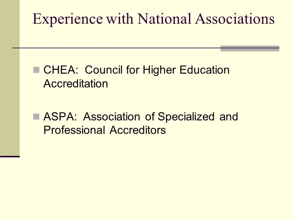Experience with National Associations CHEA: Council for Higher Education Accreditation ASPA: Association of Specialized and Professional Accreditors