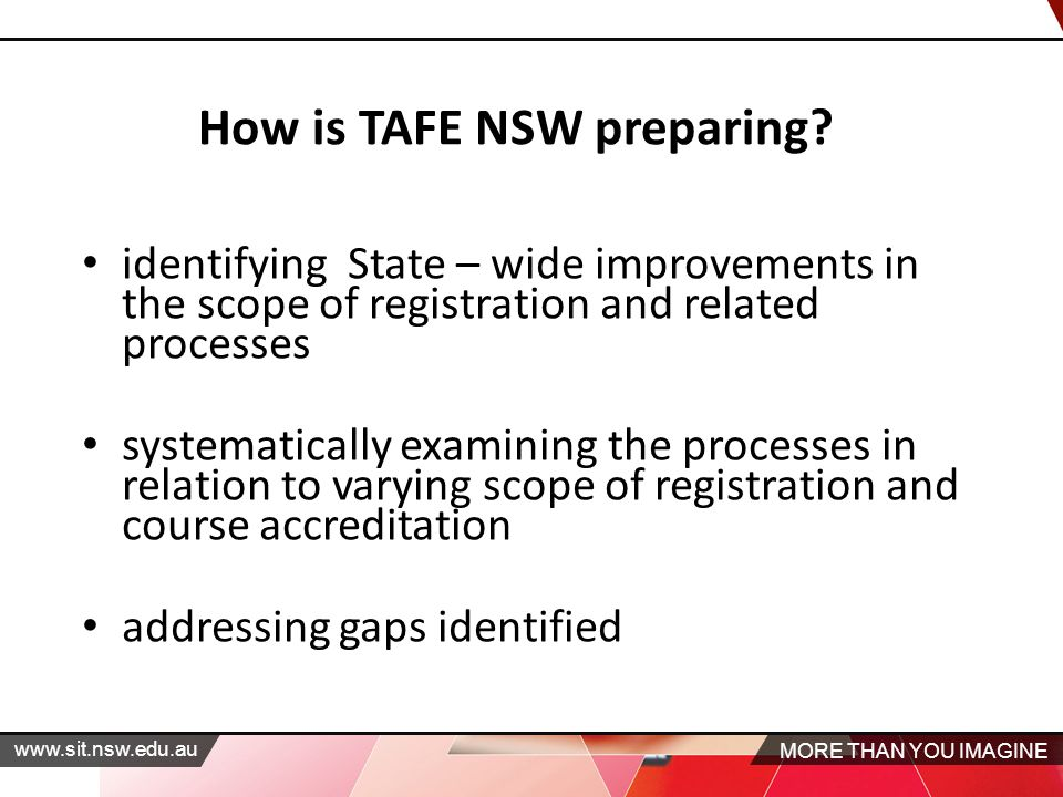 MORE THAN YOU IMAGINE   identifying State – wide improvements in the scope of registration and related processes systematically examining the processes in relation to varying scope of registration and course accreditation addressing gaps identified How is TAFE NSW preparing