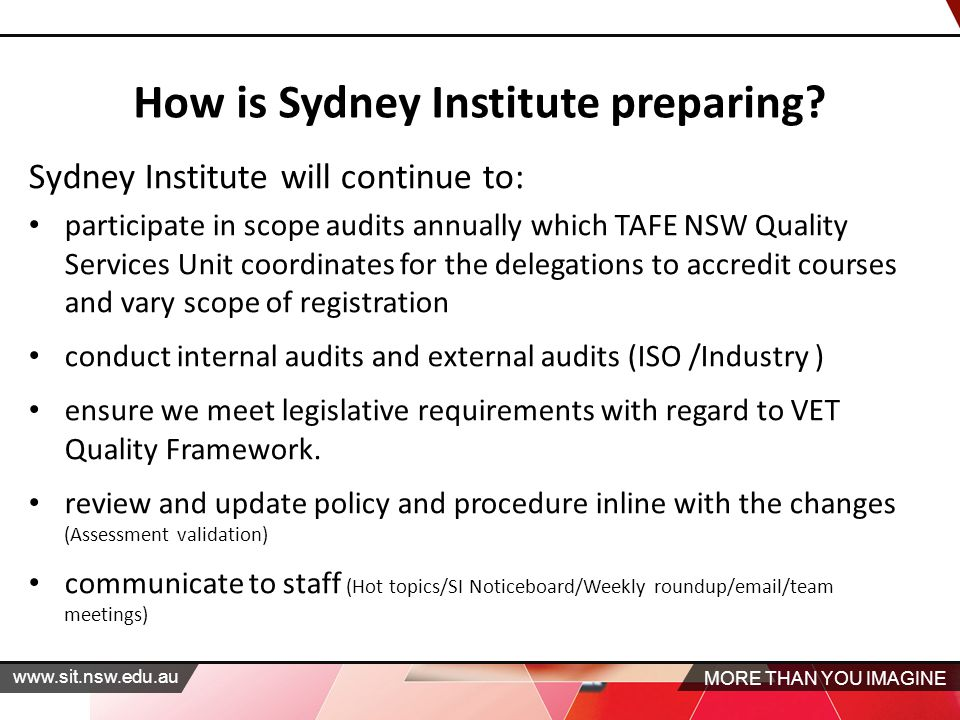 MORE THAN YOU IMAGINE   How is Sydney Institute preparing.