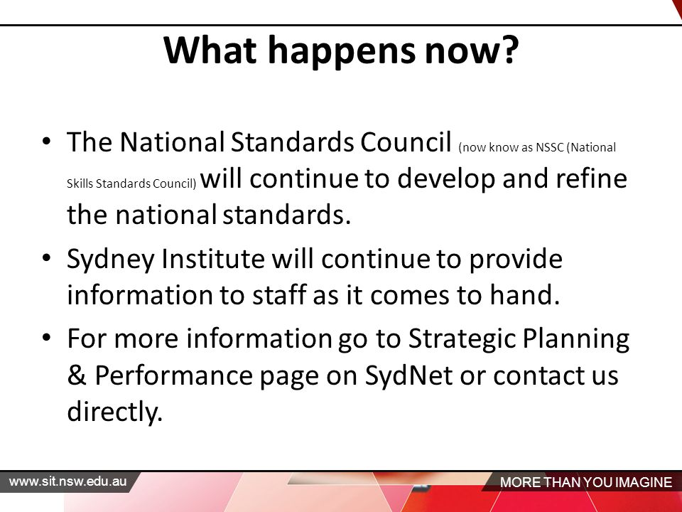MORE THAN YOU IMAGINE   The National Standards Council (now know as NSSC (National Skills Standards Council) will continue to develop and refine the national standards.