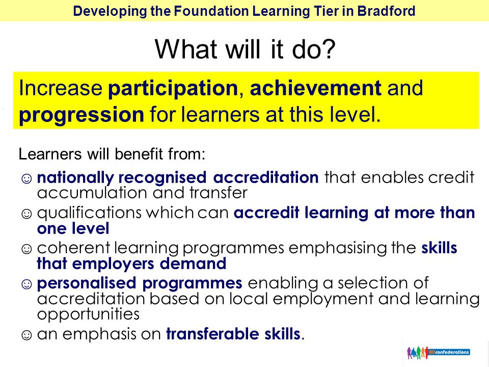 Developing the Foundation Learning Tier in Bradford What will it do.