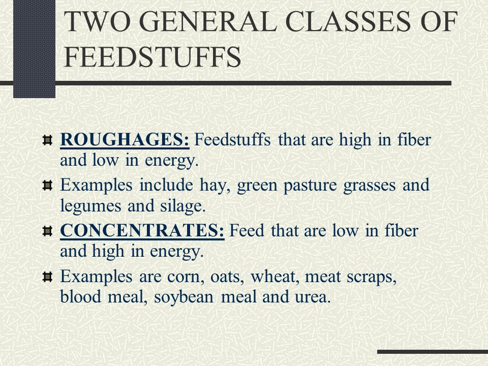 TWO GENERAL CLASSES OF FEEDSTUFFS ROUGHAGES: Feedstuffs that are high in fiber and low in energy.