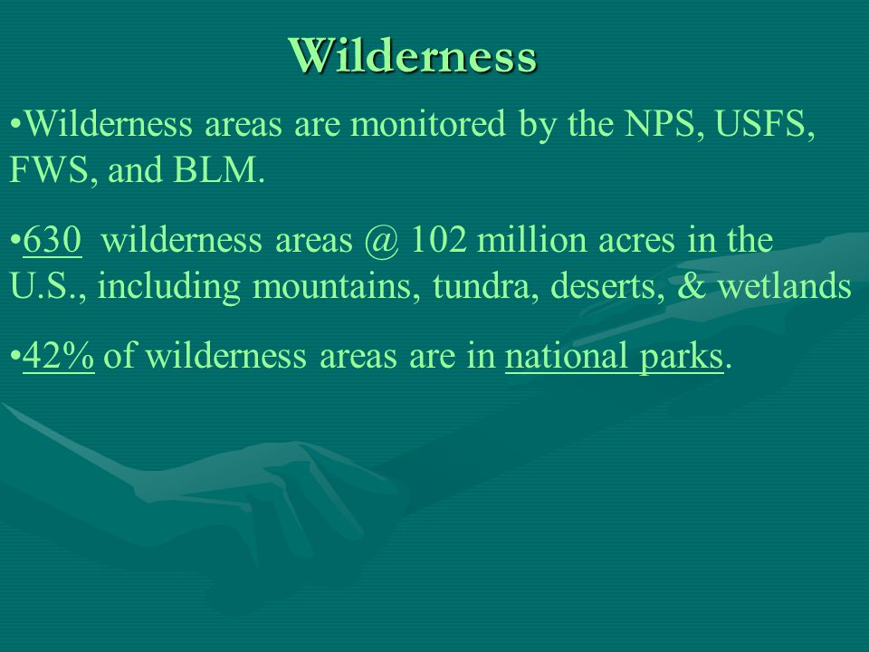Wilderness Wilderness areas range from very small (The Big Gum Swamp in Florida @ 13,660 acres) to huge (Selway-Bitterroot Wilderness Area in Idaho @ 1.3 million acres).