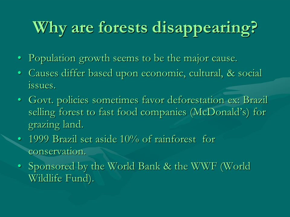 Tropical Forests These forests both (rain and dry) are disappearing at a rate of 12.6 hectares (31.1 million acres) annually.These forests both (rain and dry) are disappearing at a rate of 12.6 hectares (31.1 million acres) annually.