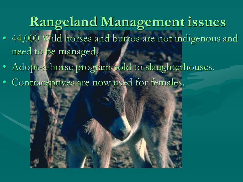 Rangelands and Agricultural Lands Rangeland Trends in the USRangeland Trends in the US Rangelands comprise 30% of land in USRangelands comprise 30% of land in US 1/3 rd public, 2/3 rd private1/3 rd public, 2/3 rd private Issues Involving Public RangelandsIssues Involving Public Rangelands Grazing permit feesGrazing permit fees Wild horses and burrosWild horses and burros