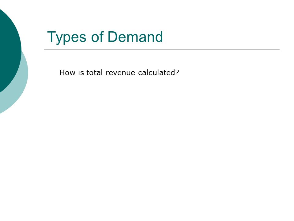 Types of Demand How is total revenue calculated