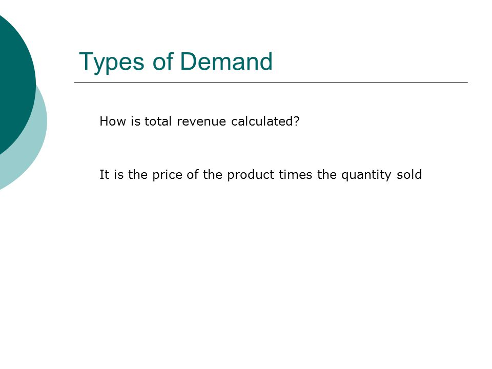 Types of Demand How is total revenue calculated.