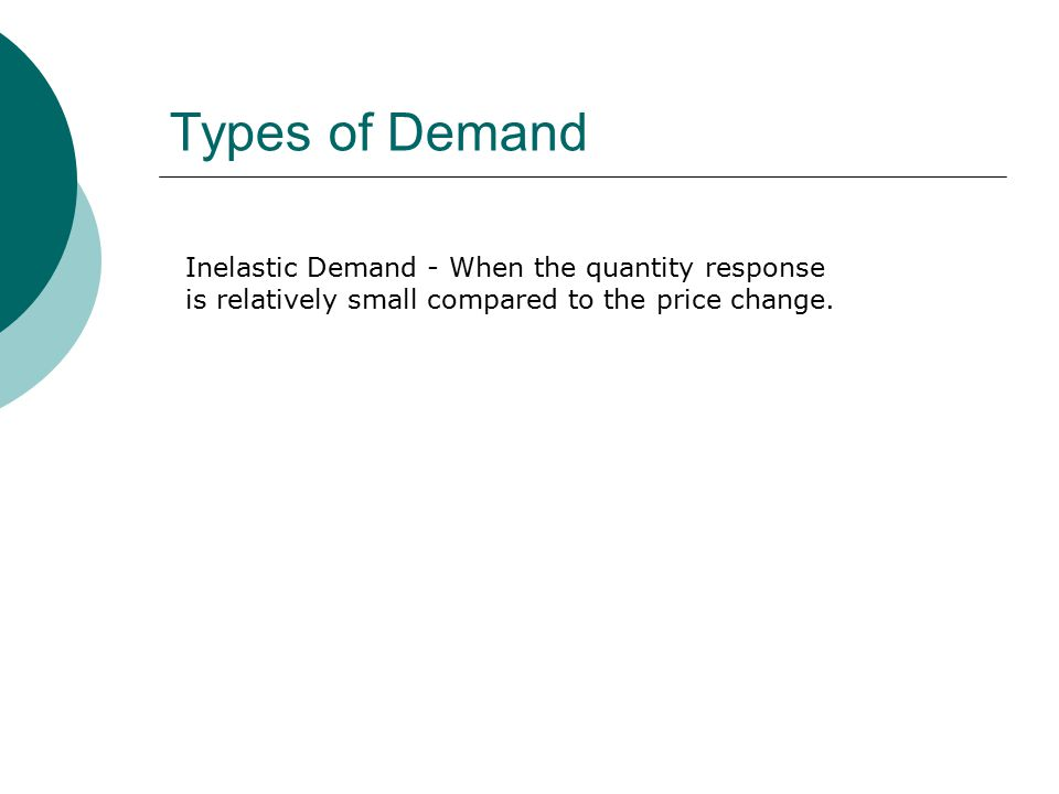 Types of Demand Inelastic Demand - When the quantity response is relatively small compared to the price change.