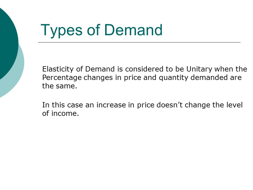 Types of Demand Elasticity of Demand is considered to be Unitary when the Percentage changes in price and quantity demanded are the same.