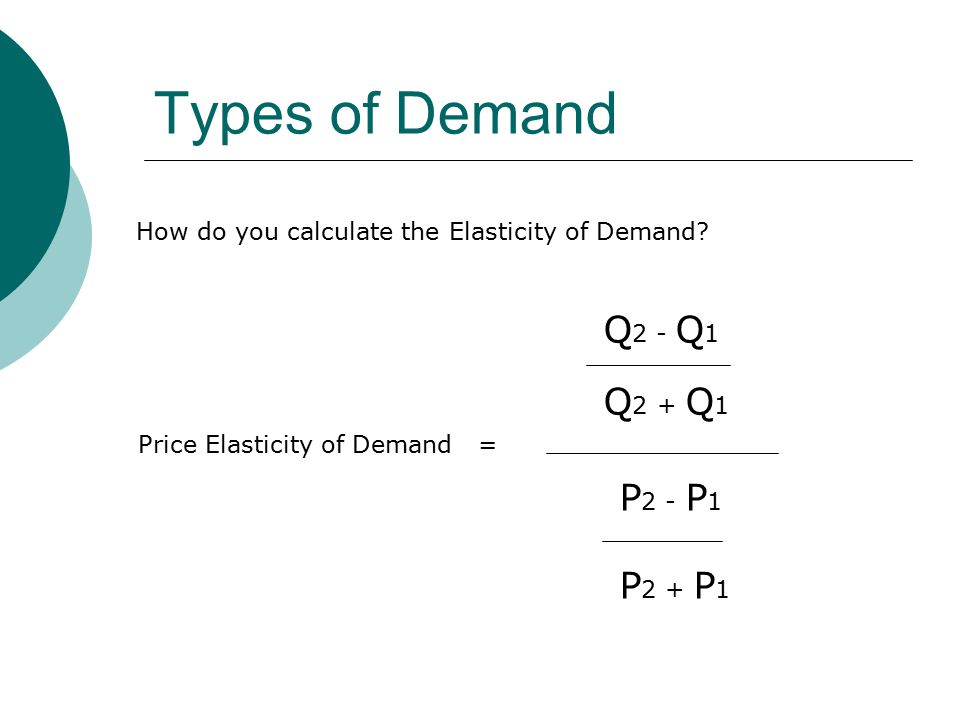 Types of Demand How do you calculate the Elasticity of Demand.