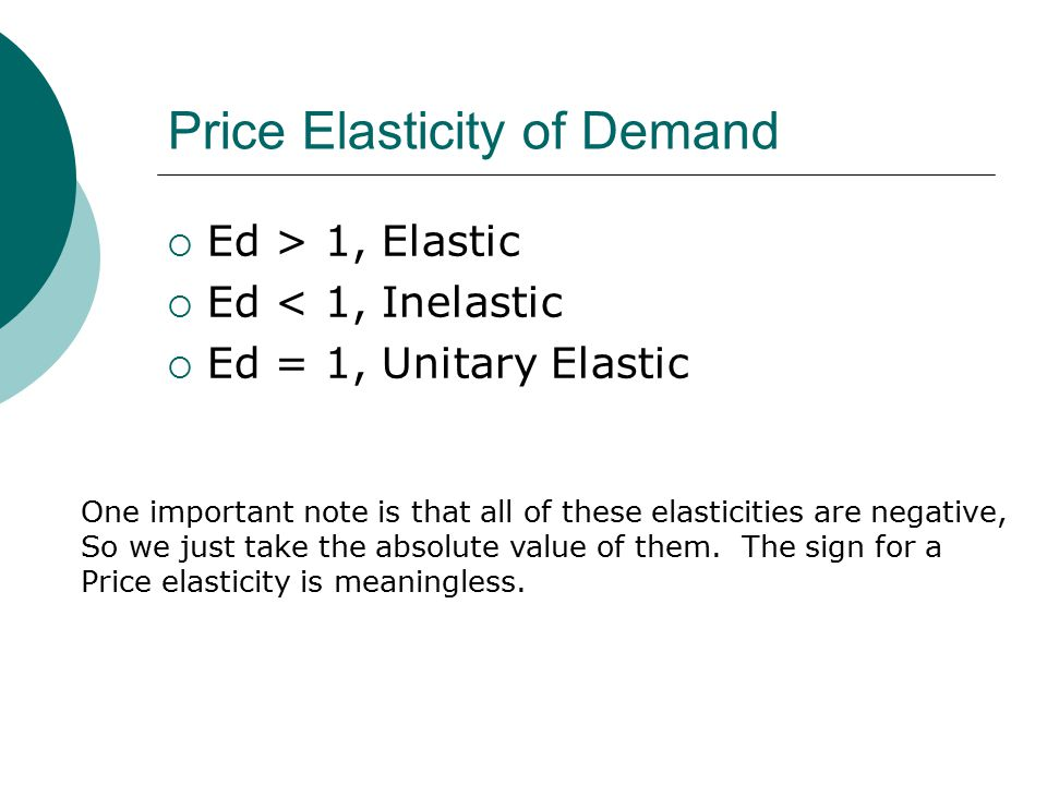 Price Elasticity of Demand  Ed > 1, Elastic  Ed < 1, Inelastic  Ed = 1, Unitary Elastic One important note is that all of these elasticities are negative, So we just take the absolute value of them.
