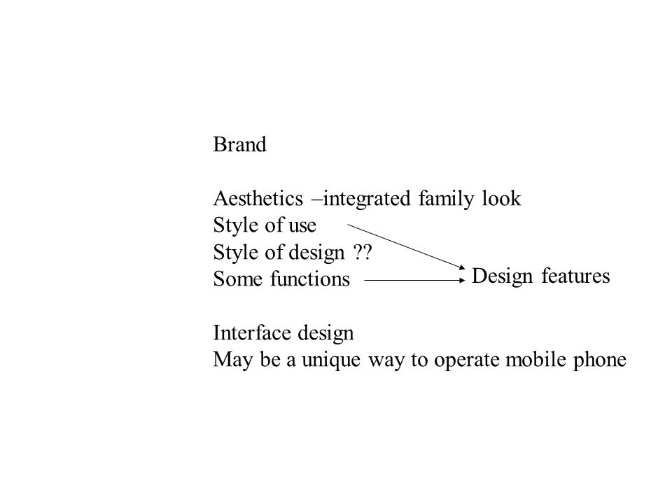 Brand Aesthetics –integrated family look Style of use Style of design .