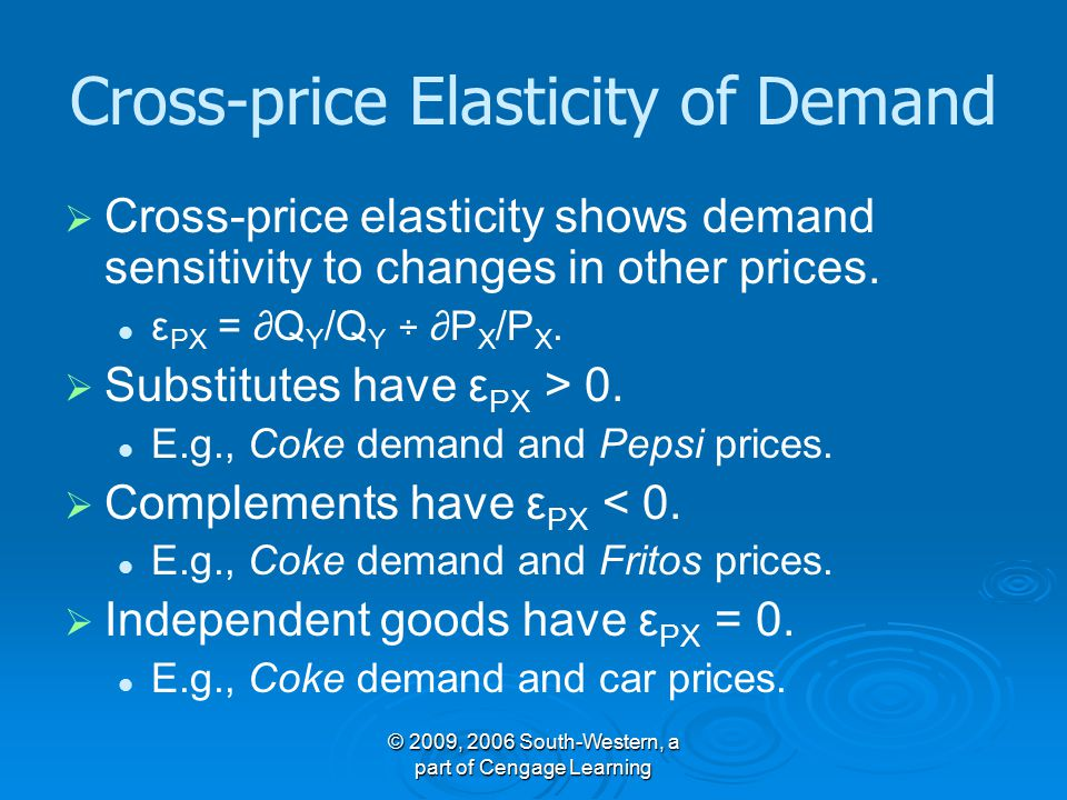 © 2009, 2006 South-Western, a part of Cengage Learning Cross-price Elasticity of Demand   Cross-price elasticity shows demand sensitivity to changes in other prices.