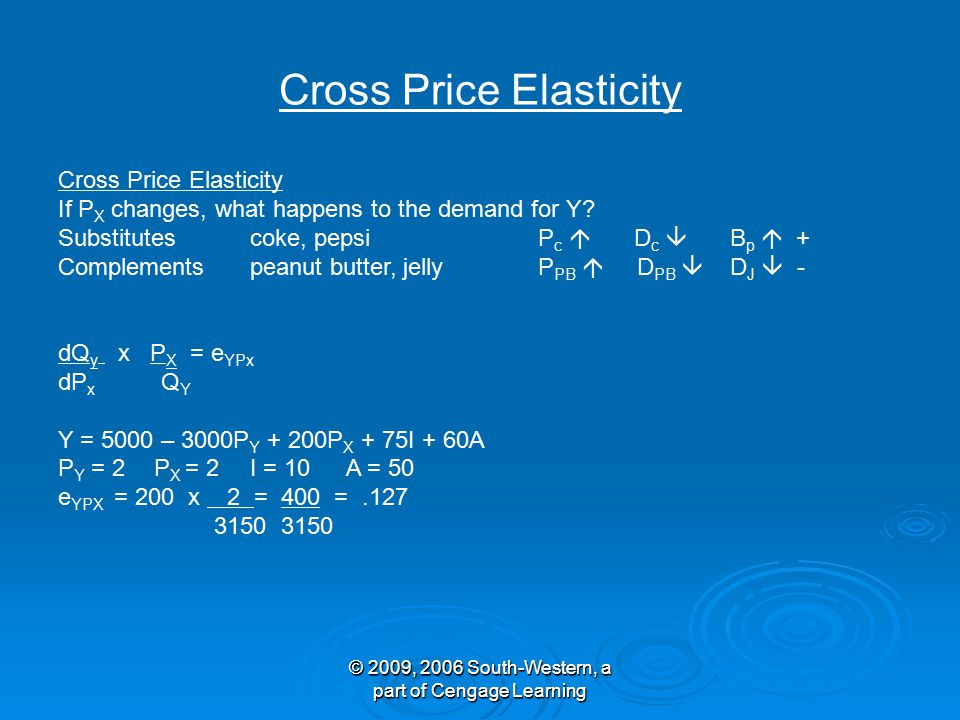 © 2009, 2006 South-Western, a part of Cengage Learning Cross Price Elasticity © 2009, 2006 South-Western, a part of Cengage Learning Cross Price Elasticity If P X changes, what happens to the demand for Y.
